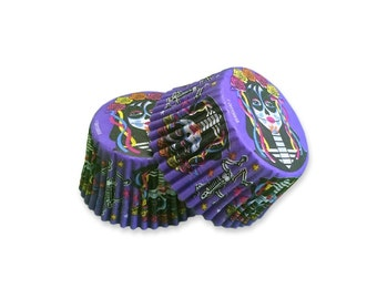 Halloween Day Of The Dead Cupcake Baking Liners, Greaseproof Paper, Dia de los Muertos Baking Party Supplies 32 pcs