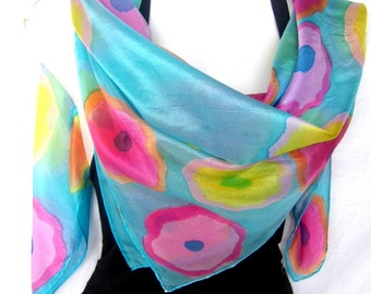 "Hand Painted Silk Scarf, Floral, Turquoise Bright Multicolor, 35"" Square Silk Scarf, Gift For Her"