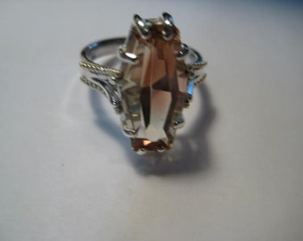 Beautiful Bi Color Oregon Sunstone  Sterling Silver and 14 kt Gold ring ..... size 7 1/2.....a969