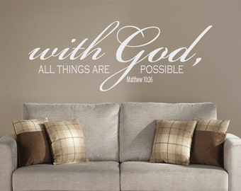 With God all Things are Possible wall decal,Christian wall decal, bible verse wall decals, religious wall decals, Matthew 10:26, wall decals