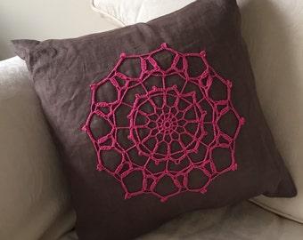 Feather cushion Linen cover Vintage Doily Appliqué