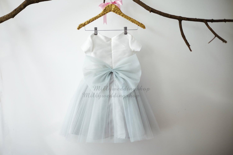 Light Gray Bridesmaid Dresses Knee Length Soft Tulle: Short Sleeves Ivory Satin Silver Gray Tulle Flower Girl