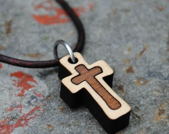 Wooden Cross Necklace Christian Jewelry Small Dainty Cross Gift for Girls or Boys First Holy Communion Confirmation
