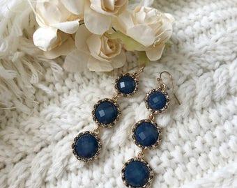 Turquoise Rhinestone Drop Earring