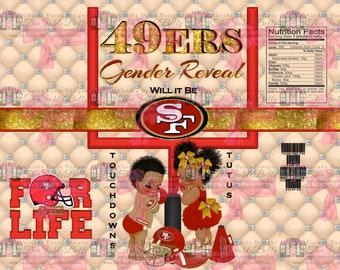 49ERS Gender Reveal Chip Bag .png Digital Download