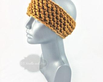 Yellow Crochet Headband, Chunky Gold Ear Warmer, Mustard Head Wrap, Knit Winter Headband, Goldenrod Head Warmer,