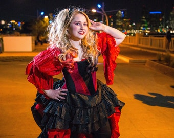Harley Quinn Inspired Steampunk Corset, Victorian, Western, Wild West, Cosplay, Superhero, Pin Up, Vintage, Ren Fair, Renaissance Festival