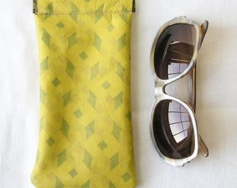 Repurposed Leather Glasses Case / Upcycled Leather Glasses Case / Mustard Yellow Print Pinch Frame glasses pouch