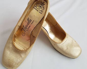 Vintage Marcella Gold Heels Retro Womens Shoes  1960s sz 7