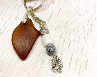 Sea glass key ring, Wedding favour gift, Scottish seaglass clover key chain, beach glass, handmade keyring, beach glass, keepsake souvenir