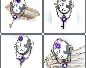 Purple Rose Steampunk Skeleton Girl Brooch