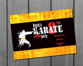 Karate Birthday Invitation Card Martial Arts Birthday Party Invite Printable