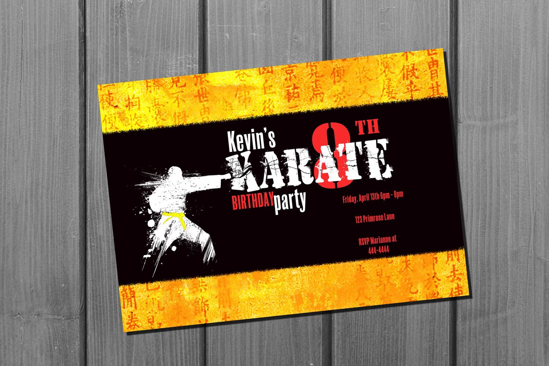 Karate Birthday Invitation Card Martial Arts Birthday Party