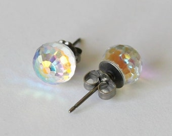 Titanium earrings, 6mm AB Clear Swarovski crystal ball studs,Hypoallergenic, Rainbow clear crystal ball earring, Sensitive ears