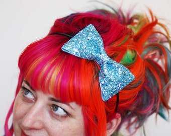 Adult Bow Headband, Glitter Hairband, Pale Blue, Other Colours Available