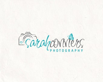 Photography logo - premade logo design Watermark - Butterfly logo Camera logo and heart logo - grey and yellow