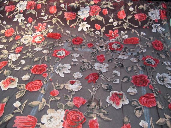 italian designer chiffon velvet burnout fabric floral print price for one yard 45 wide from. Black Bedroom Furniture Sets. Home Design Ideas