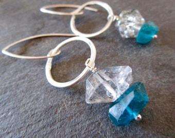 Herkimer Diamonds & Neon Apatite Small Circles Sterling Silver Earrings - Etsy Jewelry - catROCKS - Grace Frankie - Clear - Teal - Quartz