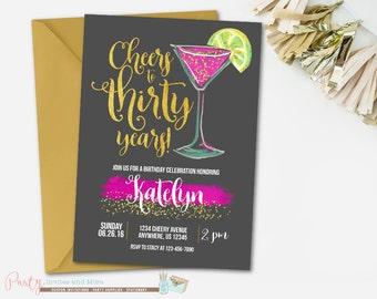 Black and Gold Birthday Invitation, Adult Birthday Invitation, 30th Birthday Invitation, Watercolor Birthday Invitation, Cheers to 30 years