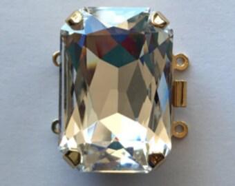 Two-Strand Rectangular Swarovski Crystal Clasp in Gold or Rhodium Finish, 27x18.5mm