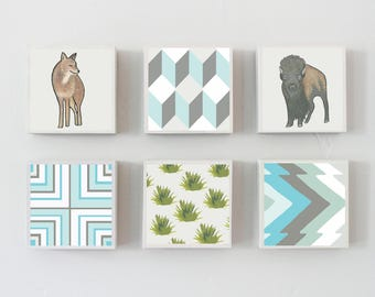 boho southwestern nursery art -animal prints wall art- choose 6 designs- gender neutral baby- southwest buffalo nursery decor, redtilestudio