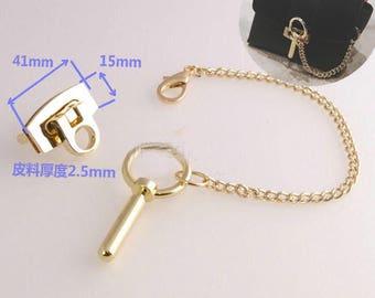Turn lock/ padlock set in  light gold, decorative push lock , push lock for purses and bags, purse closure, light gold lock