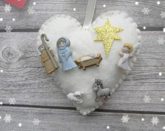 2017 Christmas Nativity Ornament Nativity scene Christmas Tree Ornament Holy family ornament Baby jesus Joseph Mary Angel ornament