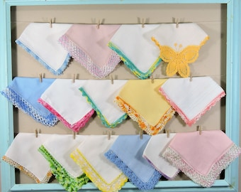 Vintage Crochet Hankie Lot / Mixed Color Crochet Hankerchiefs / Landies Hankies