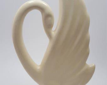 Art Deco Swan, Tall Centerpiece Figurine, Creamy White Glazed American Art Pottery, Slim Silouette Statue, Graceful Trumpeter Swan Figure
