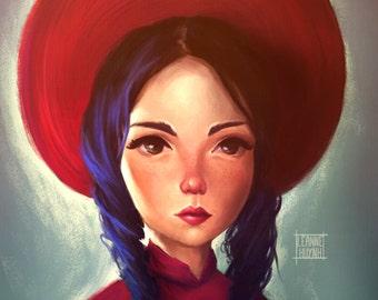 Girl Wearing Vietnamese Hat Art Illustration Print