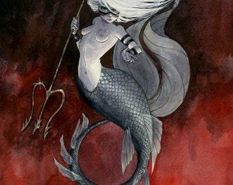 Huntress Mermaid print - 8x10 or 11x14