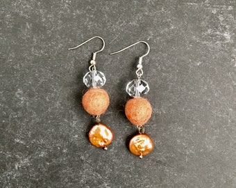 Peach Pearl Earrings, Rustic Silver Dangle, Pearl Coins, Clear Crystals, Peach Felt Balls, Natural Jewelry, Gift for Mom, Coral Gemstones