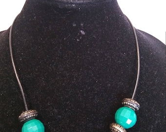 Blue, green, bronze necklace