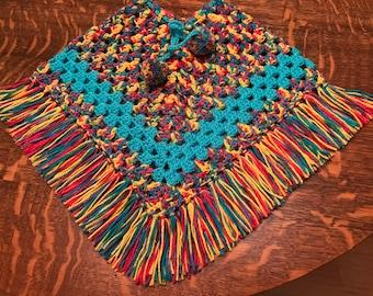 crocheted poncho girls size 4