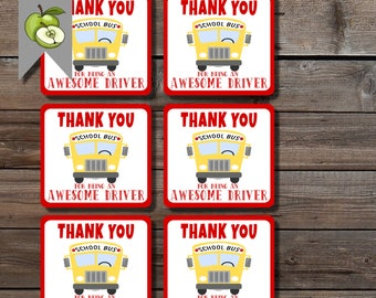 driver gift tag, gratitude for bus driver, Square, thanks, bus driver tag, printable, driver appreciation, thank you gift tag, digital, BUS1