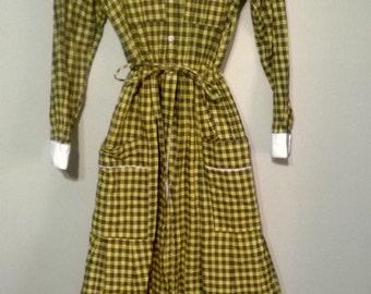 Vintage 60s does 1800s Yellow Plaid Prairie Dress
