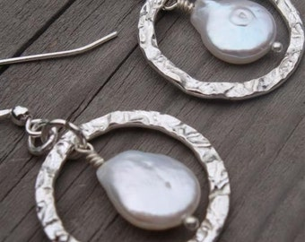 FOREVER YOURS, FAITHFULLY Bridal Collection - Genuine Tear-Shaped Coin Pearl & Hammered Sterling Silver Earrings - Handmade by Dorana