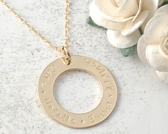 Personalized Necklace Washer Style Gold-Filled Family Name Open Circle