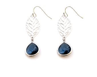 Silver Leaf Earrings with Montana Crystal,  Dangle Earrings, Wedding Jewelry, , Graduation Gift, , Christmas Gift