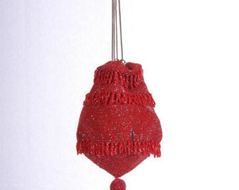 Vintage Antique Red Glass Beaded Reticule