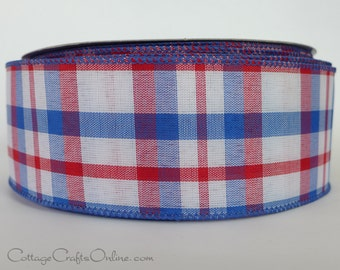 """Plaid Wired Ribbon, 2 1/2"""" Red, White, Blue Check - THREE YARDS -  """"American Chic"""", Summer, July 4th,  Patriotic  Wire Edged Ribbon"""