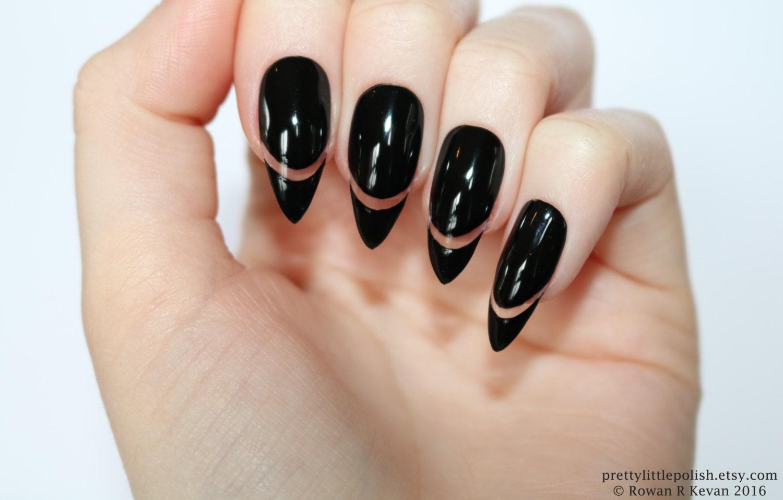 Black cut out stiletto nails Stiletto nails Fake nail