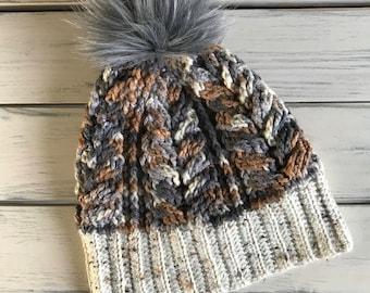 Multi colour Tweed Brim Beanie with Faux Fur Pom