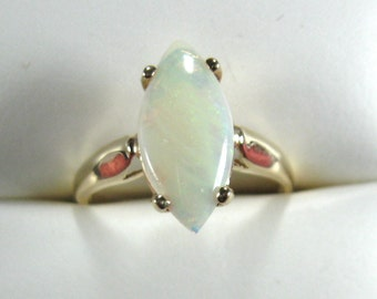 Opal Ring 14k Gold Genuine White Opal Marquise Cut 1970s Engagement October Birthstone Ring