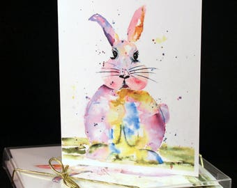 Set of Funny bunny Original Watercolor  PRINT Note Cards/Greeting Cards (Set of Four) easter cards,Watercolor Cards