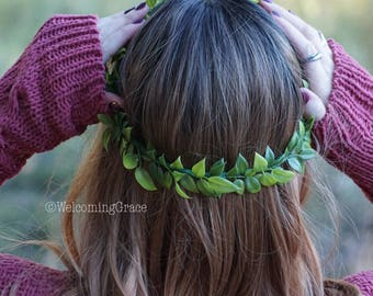 Greenery crown, flower crown wedding, bridesmaid greenery crown, flower headband, bridal flower crown