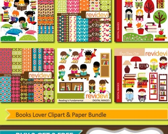 Reading clipart bundle sale / Kids reading clip art, digital papers / school clipart, read a book, library, digital images, commercial use