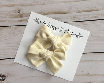 Handed Tied Mini Pigtail Set, Cream and Yellow Detail