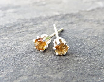 Tiny Golden Citrine Studs in Silver or 14k Yellow Gold, 3mm Citrine Earrings, November Birthstone Earrings, Sterling Faceted Citrine Rounds