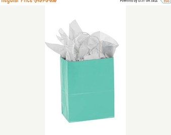 Mothers Day Sale 25 pack Teal Recycled 5.25 x 3.5 x 8.5 inch Paper Handle Bags